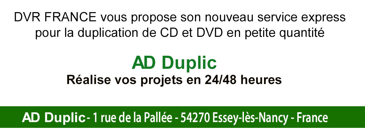 DVR FRANCE vous propose un service de duplication CD/DVD en express